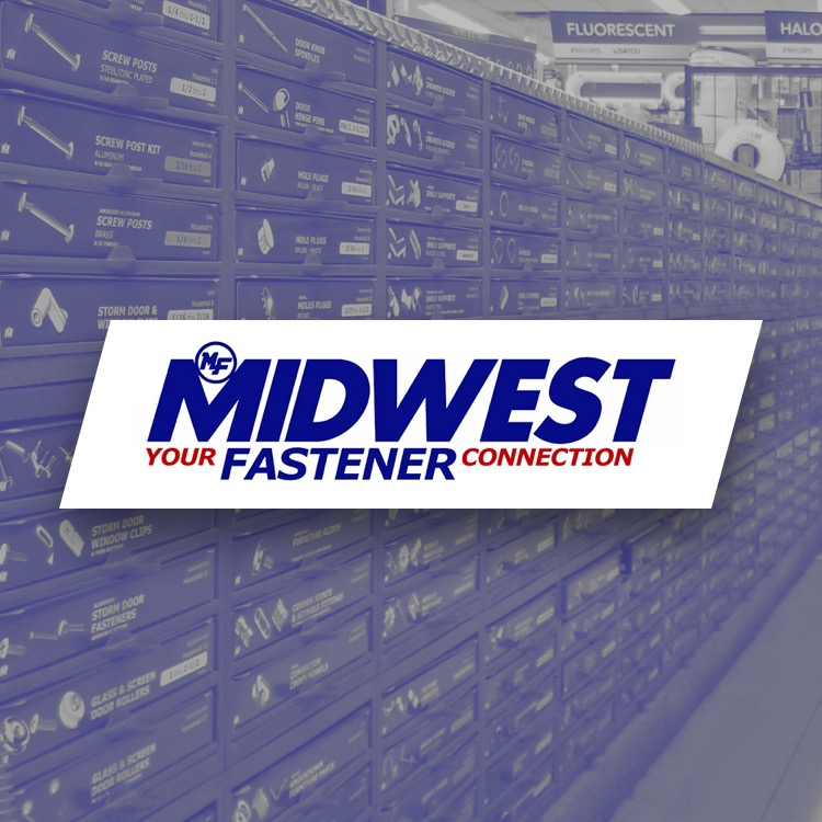 Midwest Fastener logo with a isle of fasteners