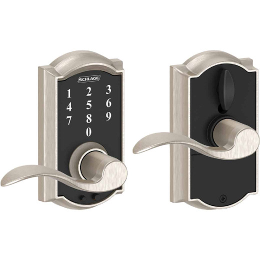 Schlage Camelot Satin Nickel Lever Touch Electronic Entry Lock