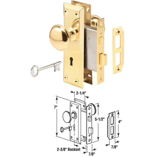Prime Line Bit Key Mortise Lockset with Knob