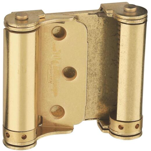 National 3 In. Satin Brass Double Action Spring Door Hinge (2-Pack)