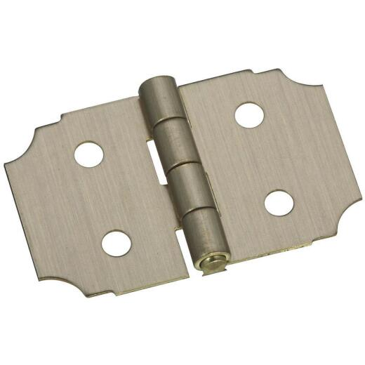 National 5/8 In. x 1 In. Antique Brass Decorative Hinge (2-Pack)