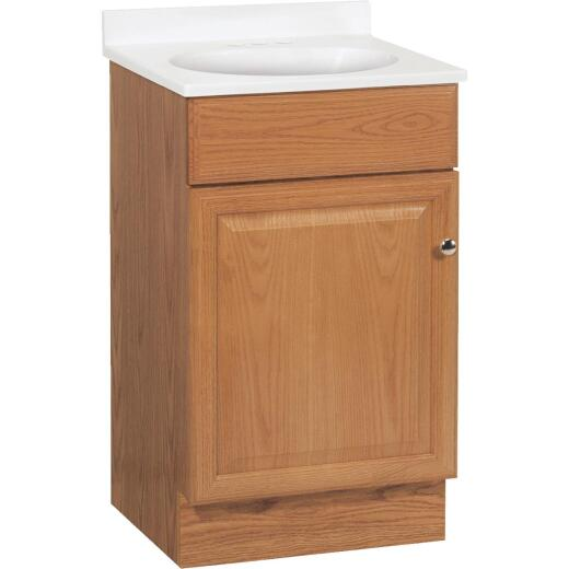 Continental Cabinets Richmond Oak 19 In. W x 35-1/4 In. H x 17 In. D Vanity with Cultured Marble Top