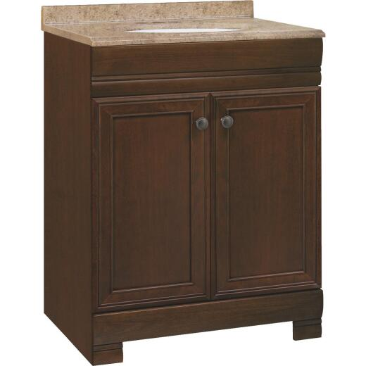 Continental Cabinets Westbrook Cafe Black Glaze 24-1/2 In. W x 34-1/2 In. H x 18-1/2 In. D Vanity with Solid Surface Technology Top
