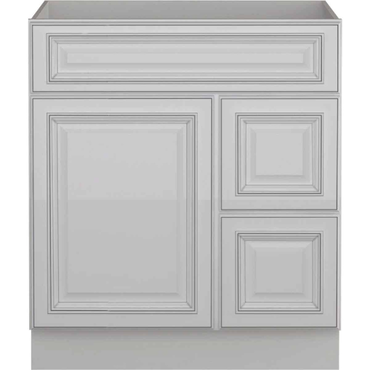 Sunny Wood Riley White with Dover Glaze 30 In. W x 34-1/2 In. H x 21 In. D Vanity Base, 1 Door/RH 2 Drawer Image 1