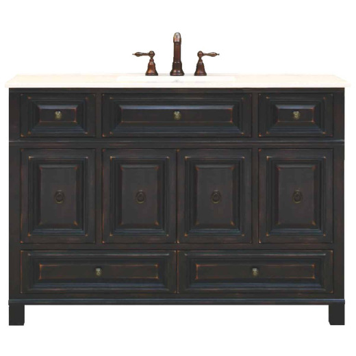 Sunny Wood Barton Hill Black Onyx 48 In. W x 34 In. H x 21 In. D Vanity Base, 4 Door/4 Drawer