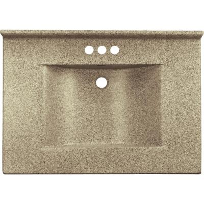 Imperial Marble 25 In. W x 22 In. D Cappuccino Faux Granite Vanity Top with Wave Bowl