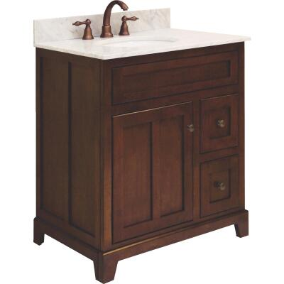 Sunny Wood Grand Haven Cherry 30 In. W x 34 In. H x 21 In. D Vanity Base, 1 Door/2 Drawer