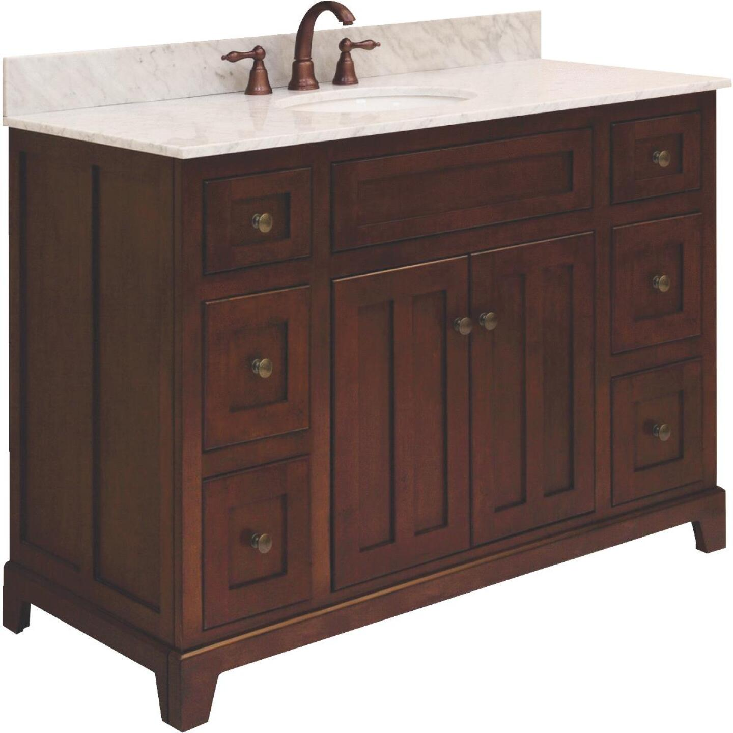 Sunny Wood Grand Haven Cherry 48 In. W x 34 In. H x 21 In. D Vanity Base, 2 Door/6 Drawer Image 1