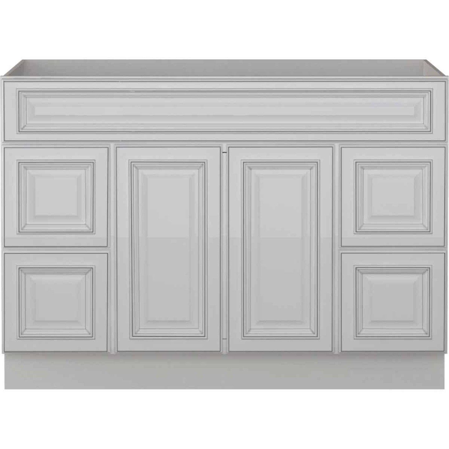 Sunny Wood Riley White with Dover Glaze 48 In. W x 34-1/2 In. H x 21 In. D Vanity Base, 2 Door/4 Drawer Image 1