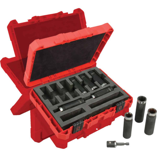 Milwaukee Shockwave Standard 1/2 In. Drive 6-Point Thin Wall Deep Impact Driver Set (9-Piece)