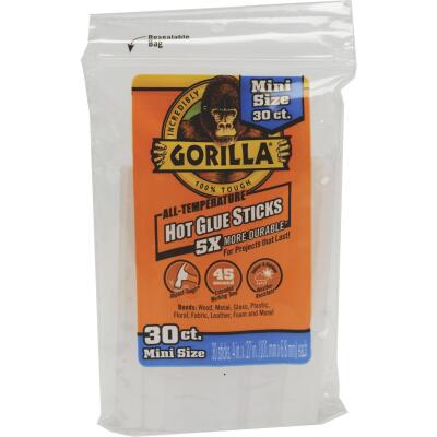 Gorilla 4 In. Mini Clear Hot Melt Glue (30-Pack)