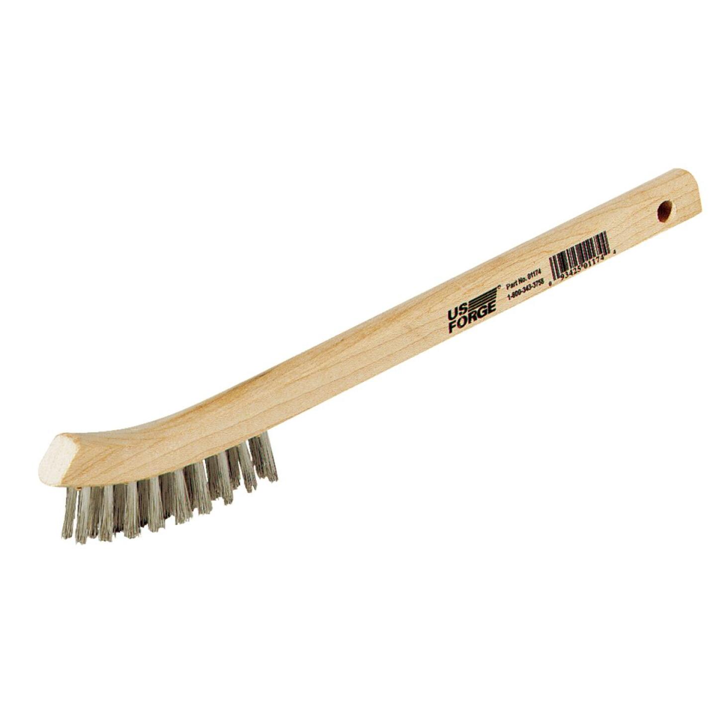 Forney 7-3/4 In. Curved Wood Handle Wire Brush with Stainless Steel Bristles Image 1