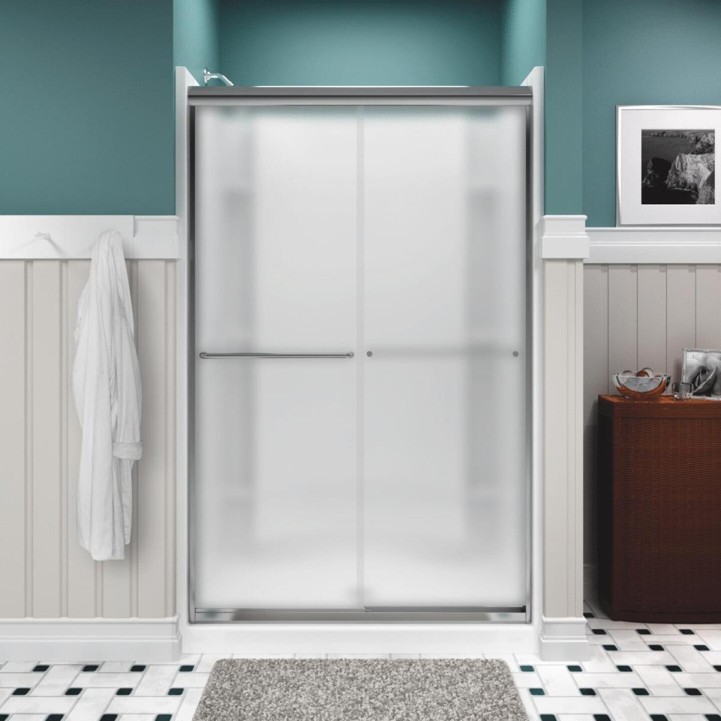 Sterling Finesse 47-5/8 In. W. X 70-1/16 In. H. Chrome Frameless Frosted Glass Sliding Shower Door Image 1