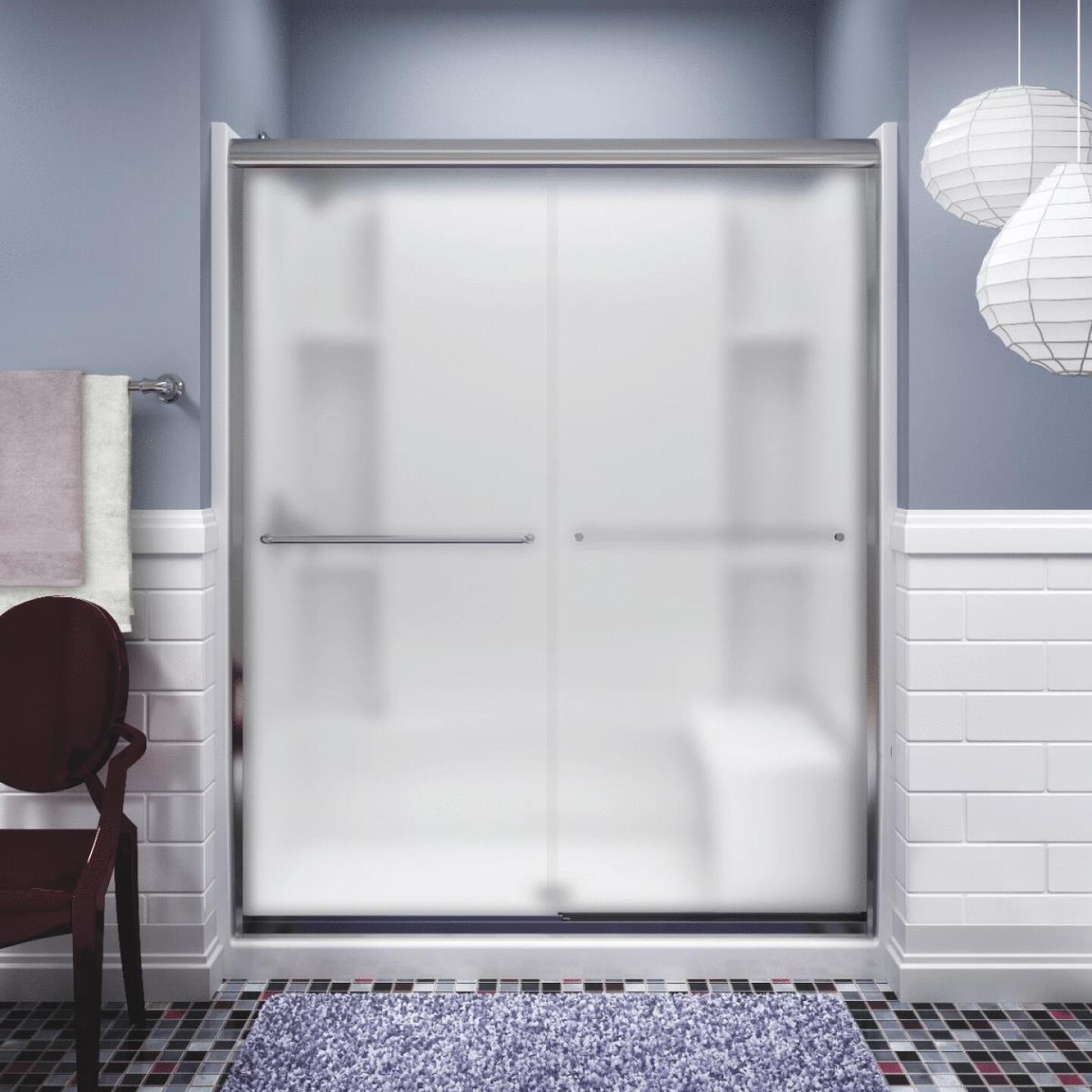 Sterling Finesse 59-5/8 In. W. X 70-1/16 In. H. Chrome Frameless Frosted Glass Sliding Shower Door Image 1