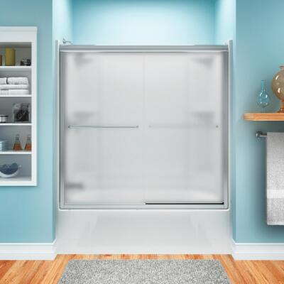 Sterling Finesse 59-5/8 In. W. X 55-3/4 In. H. Chrome Semi-Frameless Frosted Glass Sliding Tub Door