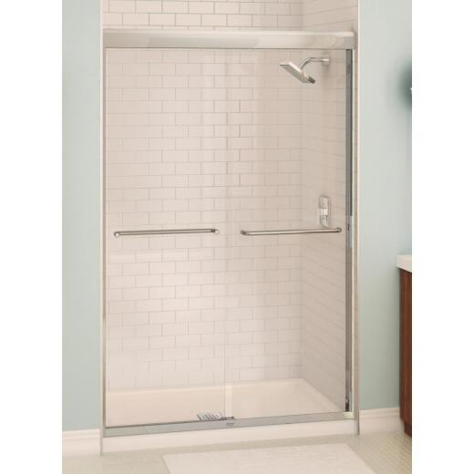Maax Aura 48 In. W. X 71 In. H. Chrome Frameless Clear Glass Sliding Shower Door