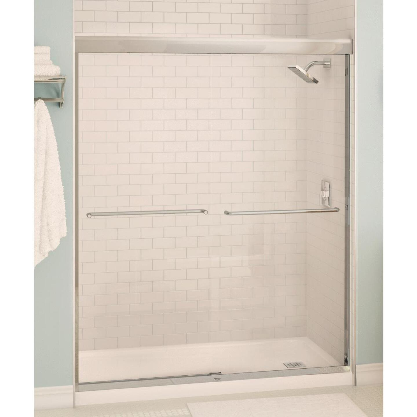 Maax Aura 59.5 In. W. X 71 In. H. Brushed Nickel Frameless Clear Glass Sliding Shower Door Image 1
