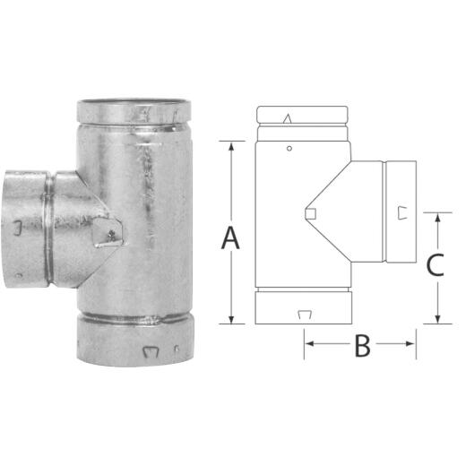 SELKIRK RV 3 In. x 6-5/8 In. x 4-1/4 In. Gas Vent Tee