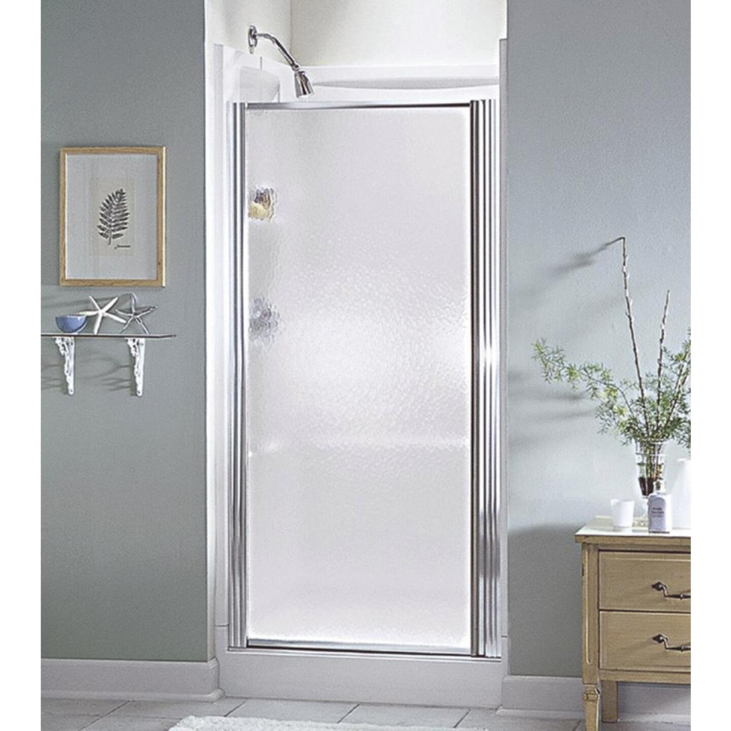 Sterling 28-1/2 In. W. X 64 In. H. Chrome Hammered Glass Standard Pivot Shower Door Image 1