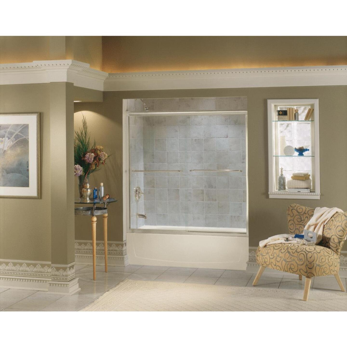 Sterling Finesse 59-5/8 In. W. X 55-3/4 In. H. Nickel Semi-Frameless Clear Glass Sliding Tub Door Image 2