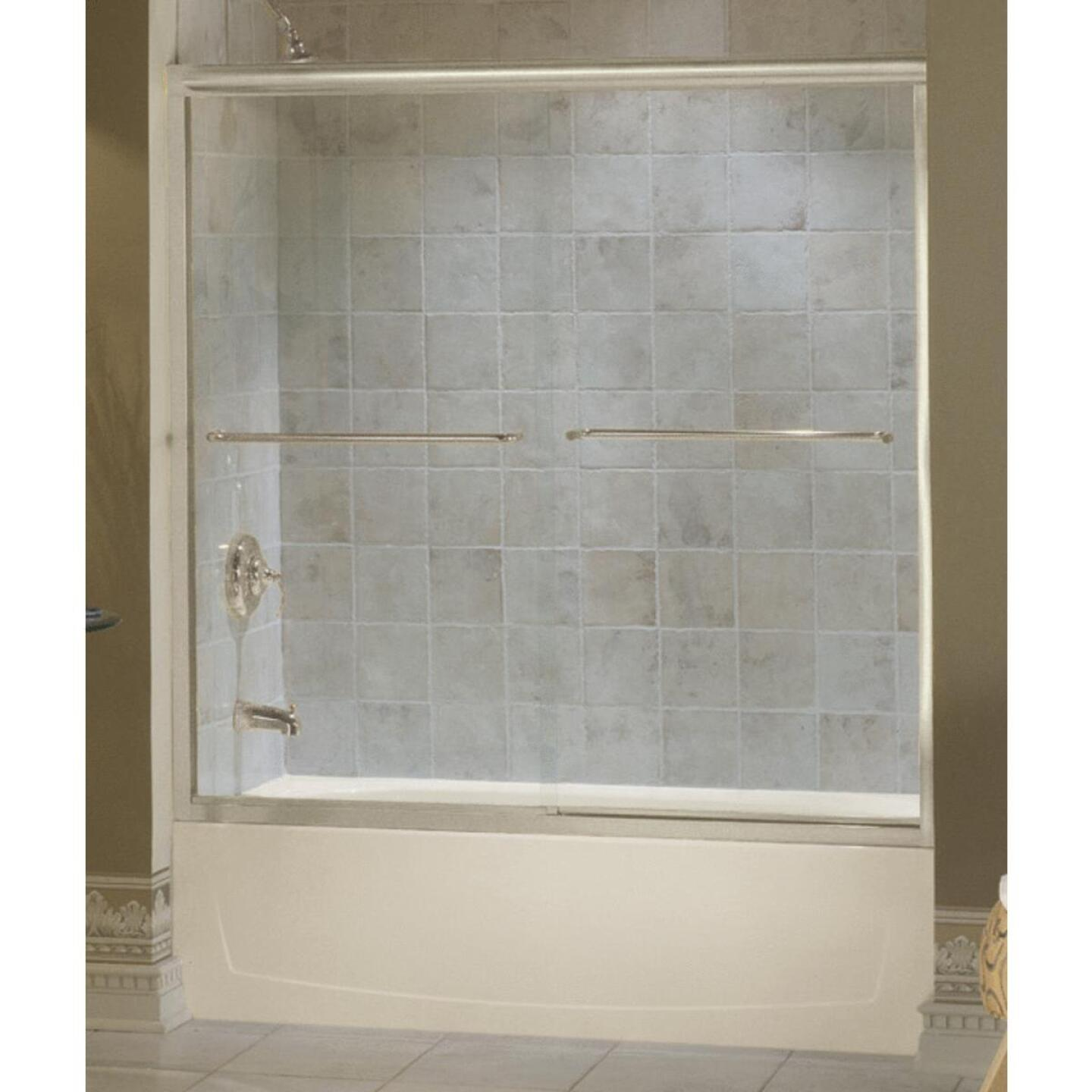Sterling Finesse 59-5/8 In. W. X 55-3/4 In. H. Nickel Semi-Frameless Clear Glass Sliding Tub Door Image 1