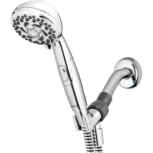 Waterpik PowerSpray+ 6-Spray 1.8 GPM Handheld Shower w/Easy Pause Button, Chrome