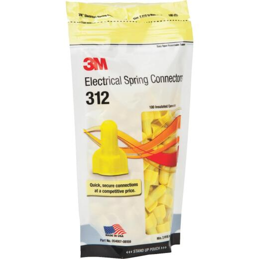 3M Medium Yellow 22AWG to 8AWG Wing Wire Connector (100-Pack)