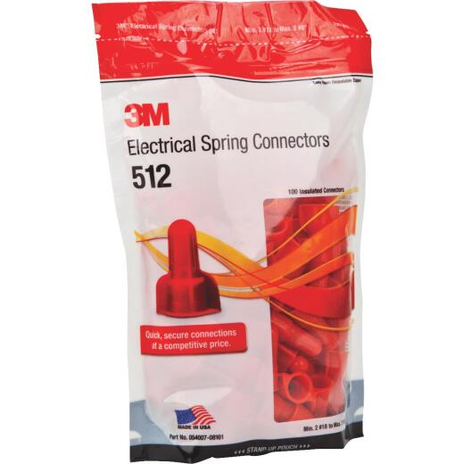 3M Medium Red 22AWG to 8AWG Wing Wire Connector (100-Pack)