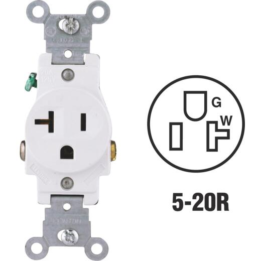 Leviton 20A White Commercial Grade 5-20R Shallow Single Outlet