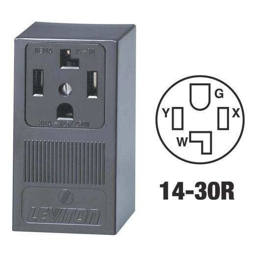 Leviton 30A Surface Mount Black 14-30R 4-Wire Dryer Power Outlet