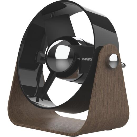 Vornado Sharper Image Small 2-Speed Black Mid Century Design Saddle Desk Fan