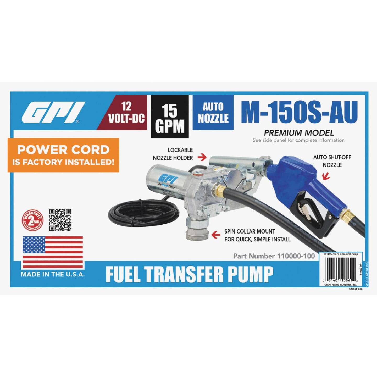 GPI 12V DC, 15 GPM Automatic Fuel Transfer Pump Image 2