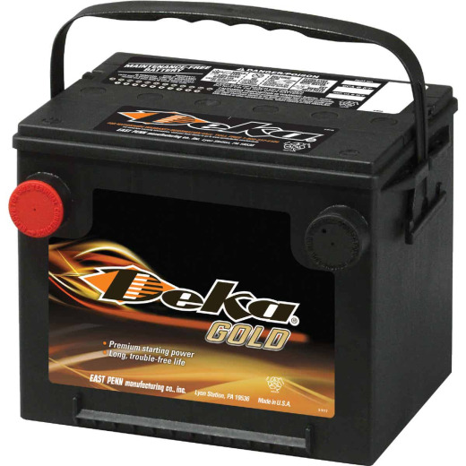 Deka Gold 12-Volt 650 CCA Automotive Battery, Side Post Left Front Positive Terminal
