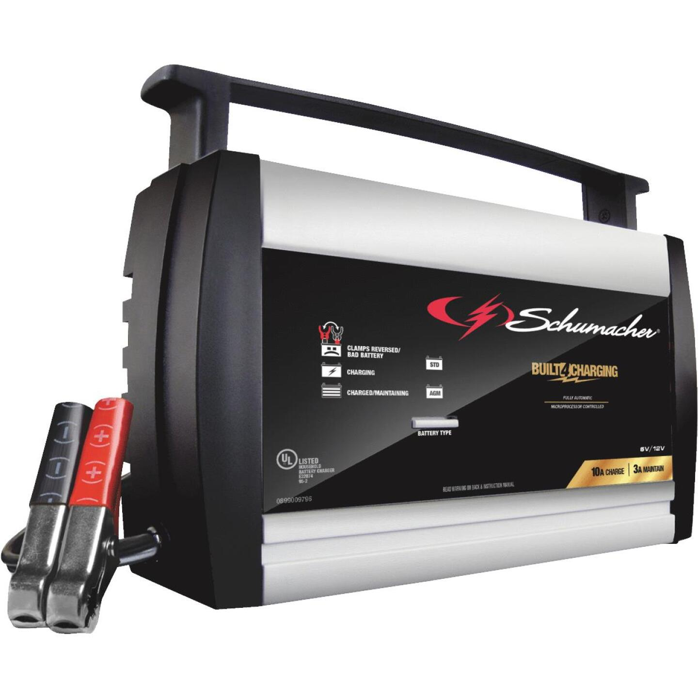 Schumacher Automatic 6V and 12V 10A Automotive and Marine Battery Charger Image 1
