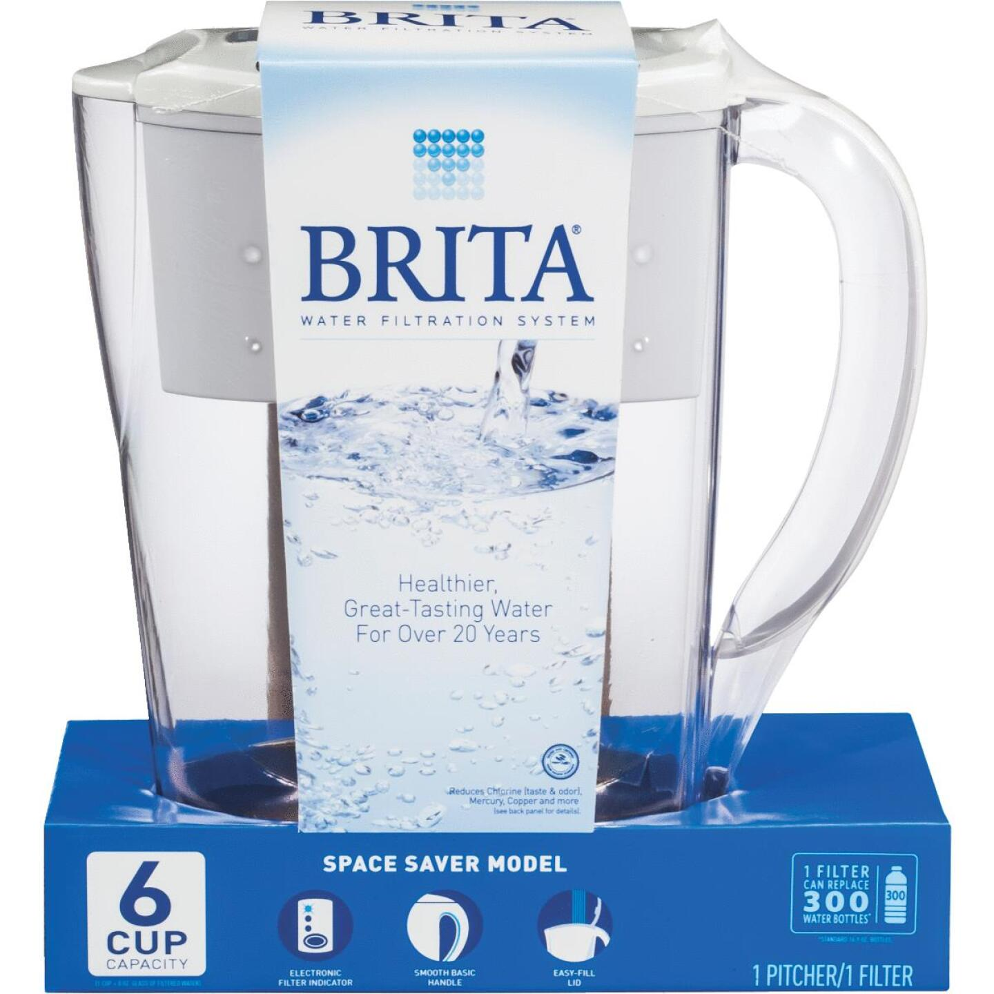 Brita Space Saver 6-Cup Water Filter Pitcher, White Image 1