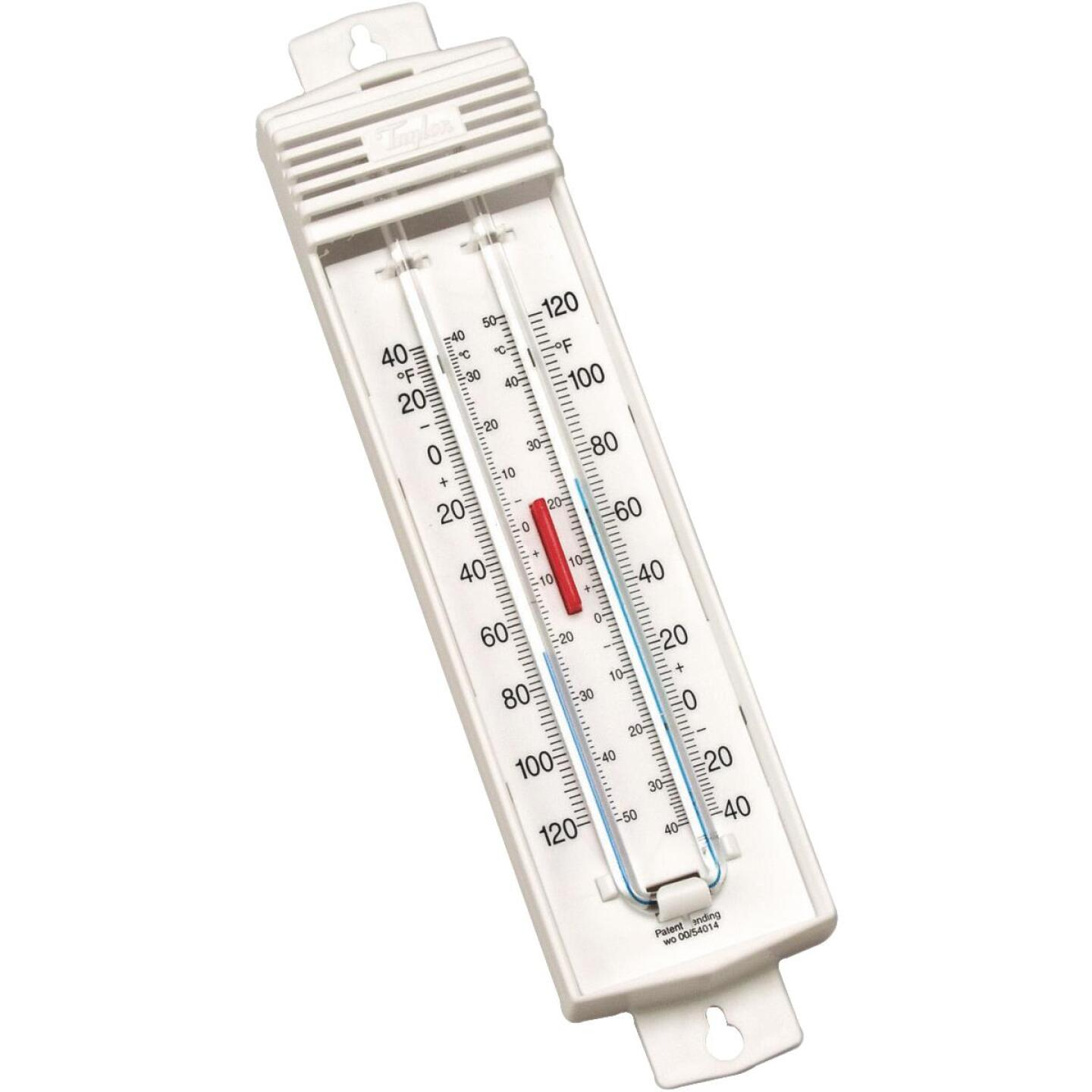 "Taylor 2-3/4"" W x 8-3/4"" H Plastic Tube Indoor & Outdoor Thermometer Image 1"