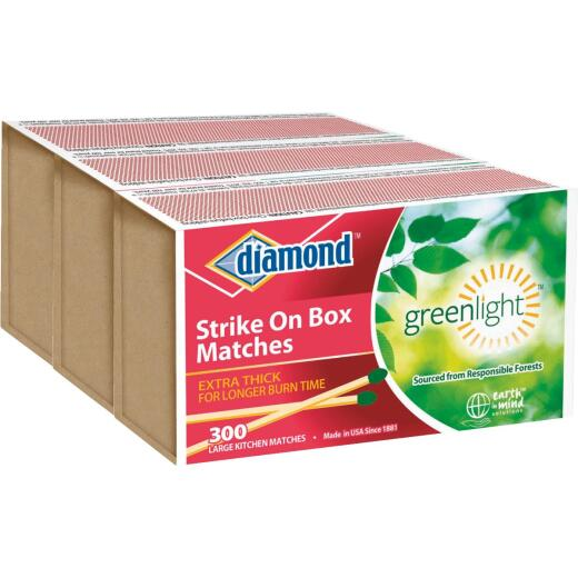 Diamond 2-3/8 In. 300-Count Strike on Box Kitchen Matches (3-Pack)