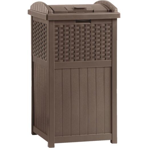 Suncast 30 to 33 Gal. Brown Trash Can with Lid