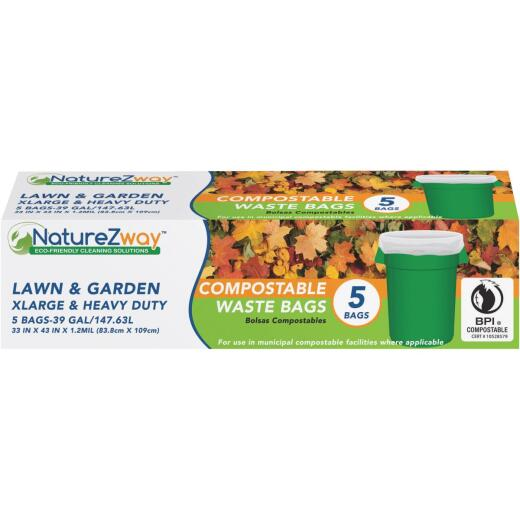 NatureZway 39 Gal. Compostable Lawn & Garden Leaf Bag (5-Count)