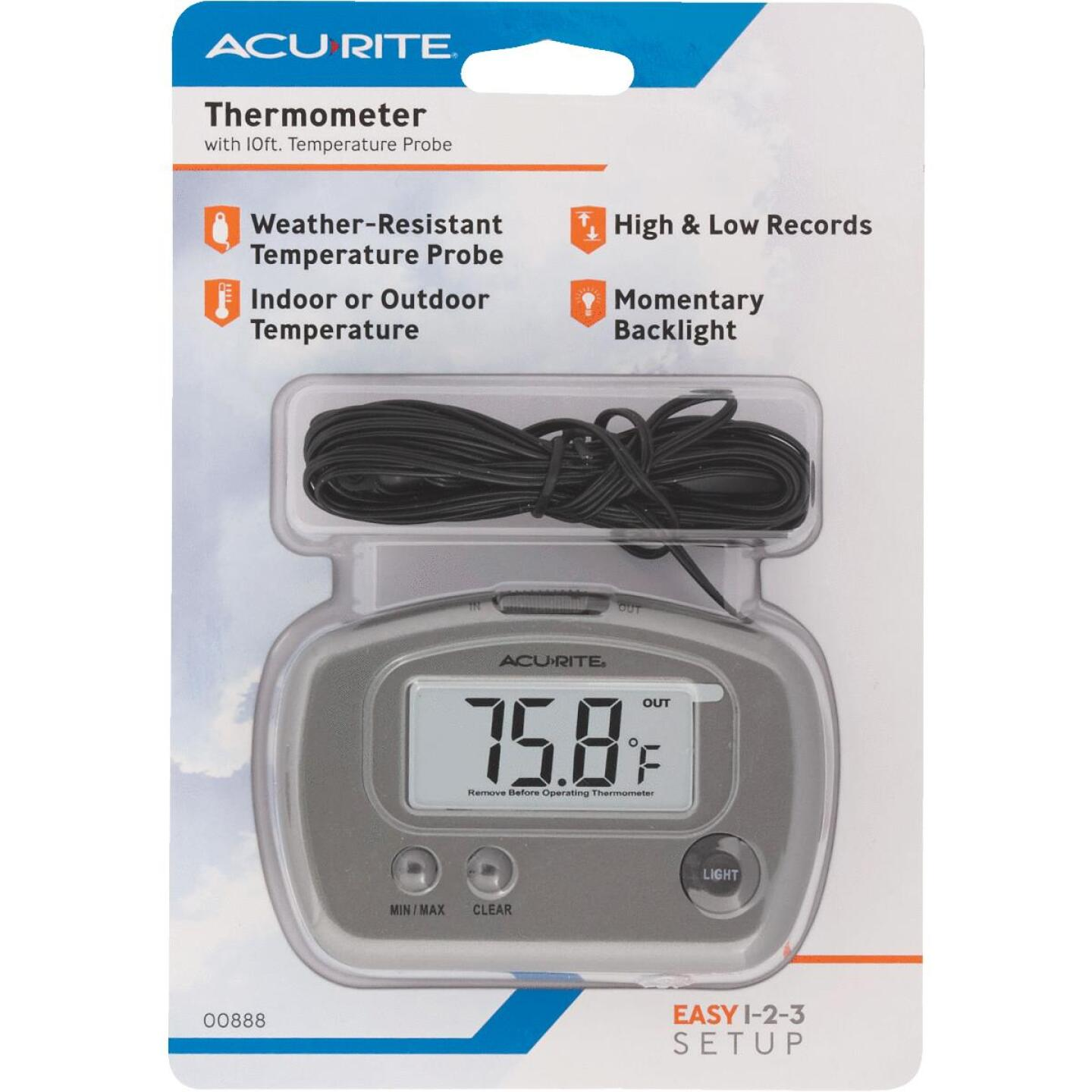 "Acurite 2-3/4"" W x 3-1/8"" H Plastic Digital Indoor & Outdoor Thermometer Image 3"