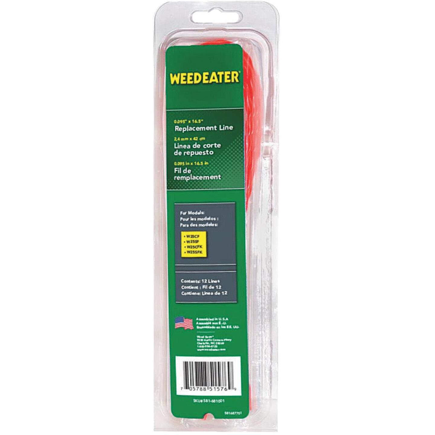 Weedeater 0.095 In. Dia. x 16.5 In. L. Round Pre-Cut Trimmer Line (12-Piece) Image 1