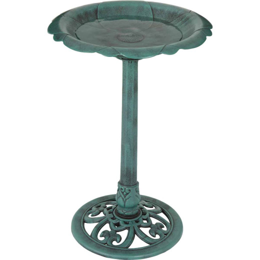 Best Garden Antique Verdigris Flower Pedestal Bird Bath