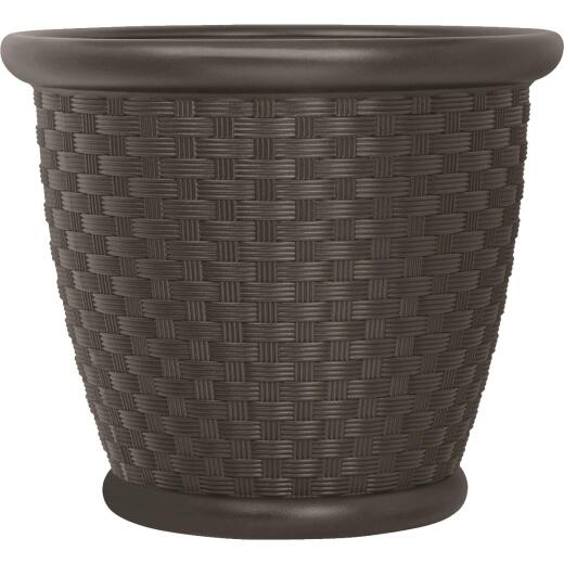 Suncast Sonora 22 In. Resin Wicker Java Planter