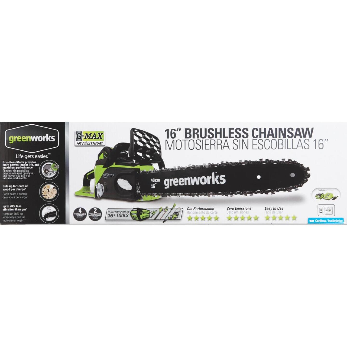 Greenworks G-MAX 16 In. 40V Lithium Ion Brushless Cordless Chainsaw Image 2