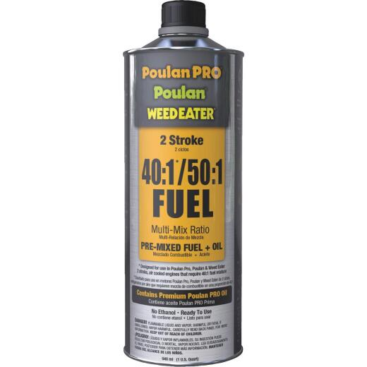 Poulan Pro Weedeater 1 Quart 40:1/50:1 Ethanol-Free Small Engine Multi-Mix Fuel & Oil Pre-Mix