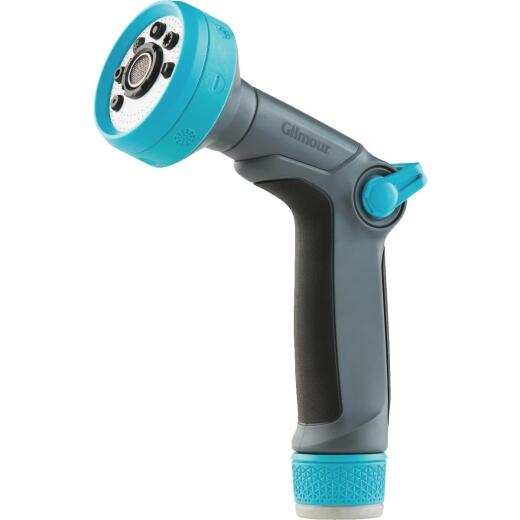 Gilmour Metal 8-Pattern Thumb Control Nozzle, Black & Green