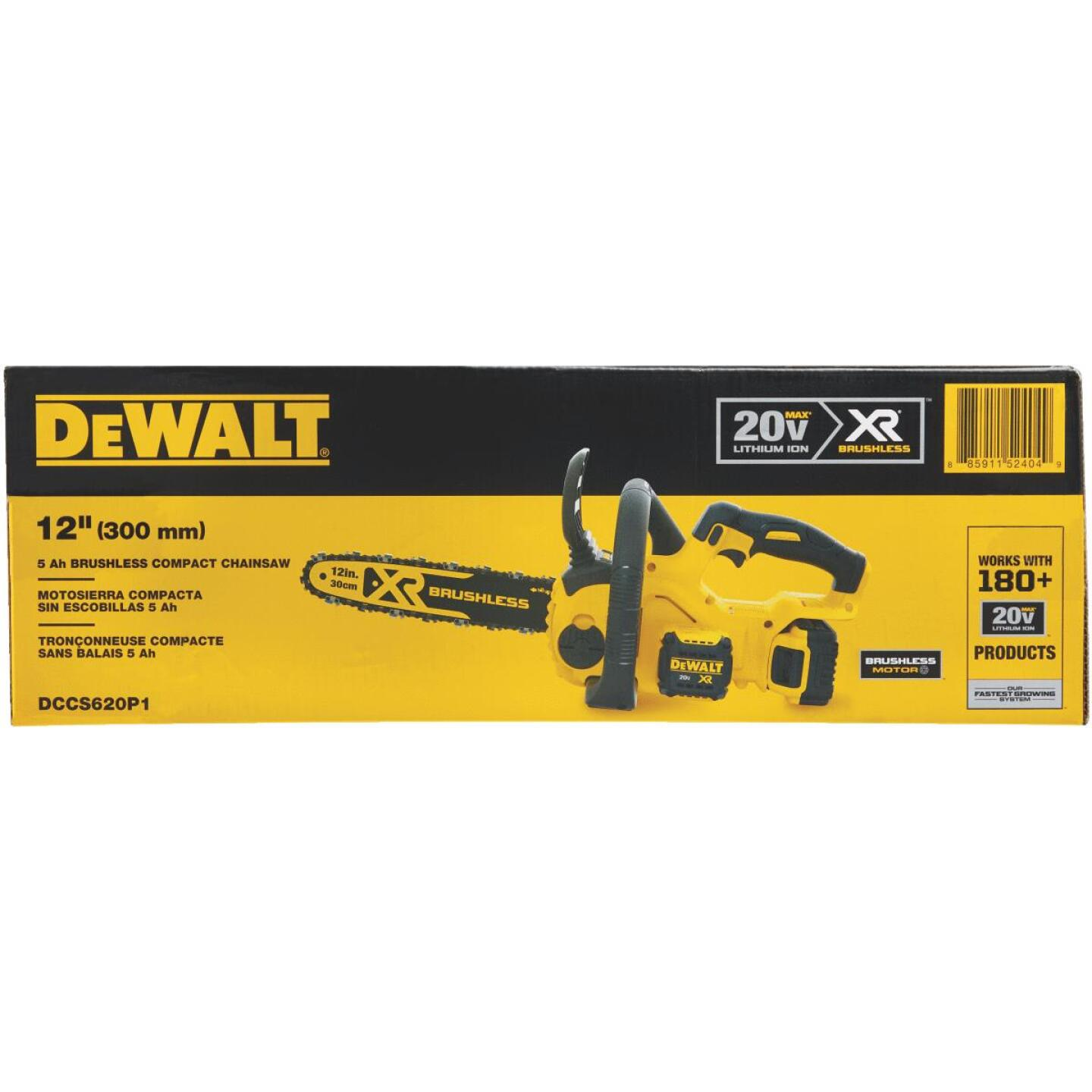 DeWalt 12 In. 20V MAX Lithium-Ion Brushless Cordless Chainsaw Image 2