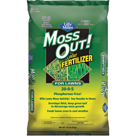 Lilly Miller Moss Out 20 Lb. 20-0-5 Moss Control Plus Fertilizer