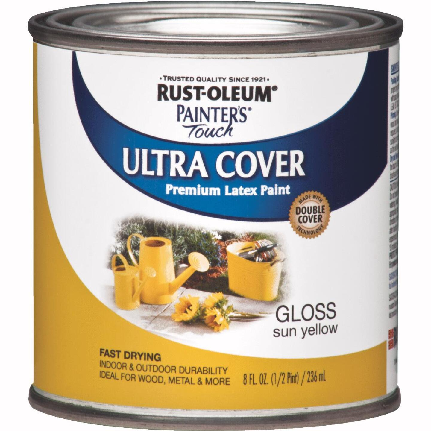 Rust-Oleum Painter's Touch 2X Ultra Cover Premium Latex Paint, Sun Yellow, 1/2 Pt. Image 1