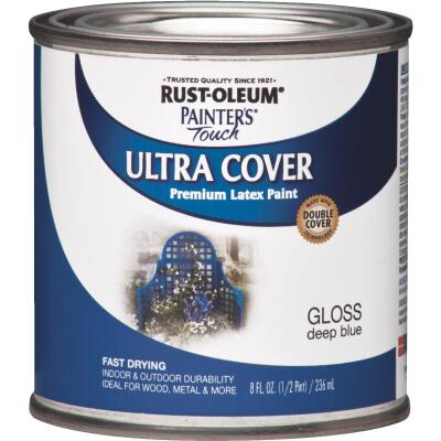 Rust-Oleum Painter's Touch 2X Ultra Cover Premium Latex Paint, Deep Blue, 1/2 Pt.